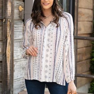 GRACE AND LACE WILLOW BUTTON DOWN PEASANT BLOUSE